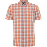 Men's Madras Lined Shirt Short Sleeve Orange