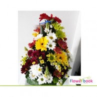 Mix colour chrsanthemum flower arrangement GW002
