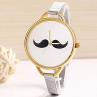 Women's Silver Stainless Steel Moustache Casual Wrist Watch