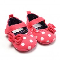 Red and White Dot Baby Girls Shoes