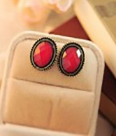 Lovely Vintage Style Elliptic Ear Stud  Red