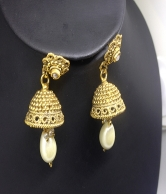 Whiter Pearls & Gold Plated Fashion Earrings