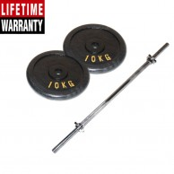 2 Pack 10KG Gold & Black Hand Painted Weight Plate plus 5 Feet Barbell