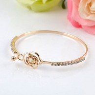 Womens Crystal Rose Flower Bangle