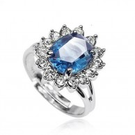 Blue Stone Silver Ring for Women R 033