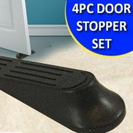 4PC Flexible Black Rubber Door Stopper