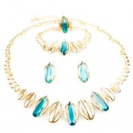 Gold Plated Oval Shape Crystal Jewelry Set