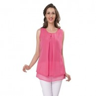 Sleeveless Pink Short Top 1083