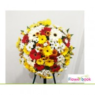 Mix colour gerbera flower and chrysanthemum wreath SM007