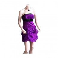 Light Purple And Black Short Pattern Frock