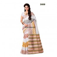 branded printed cotton saree 3089