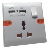 Universal Wall Socket with Dual USB 5v 2.1A