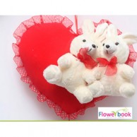 Heart pillow with two rabits ST005
