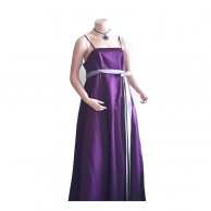 Purple Gray Belt Long Frock