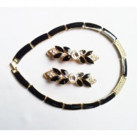 New York Gold Tone Necklace And Earrings  Black Enamel Set