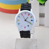 Jelly Ice Colorful Dial Numbers Silicone Wrist Watch Black