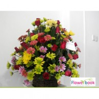 Mix colour chrsanthemum 30 nos and red roses 30 nos flower arrangement TH006