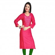 Pink Simple Cotton Kurti