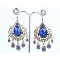 Silver Tone Bronze Blue Stone Retro Earrings Hook Clip
