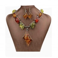 Women's Tibetan Multi Color Necklace And Earrings Set