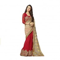 Red Cream Designer Saree