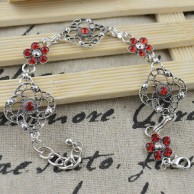 Red Tibet Silver Chain Bangle Bracelet