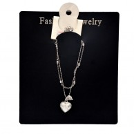 Silver Plated Ladies Heart Pendant Anklets