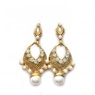 Gold Plated Tone Crystal Scroll Teardrop Earrings