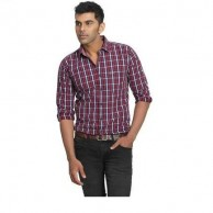 Collar Shirt Red and Navy Check