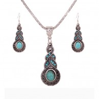 Women's Tibetan Silver With Blue Beads Jewellery Set