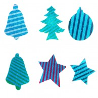 12 pieces Pack of Stripes Designed Multi Shapes Christmas Decoration Stickers