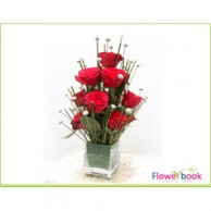 Red Roses with Glass vase Arrangement RM007