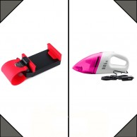 Combo of Car Vacuum Cleaner and Phone Holder
