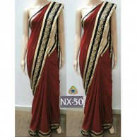 Bollywood Maroon Plain Saree SR1456
