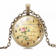 Vintage Clock Picture Necklace