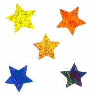 10 pieces Pack of glitter spiral Designed Multi Color Christmas Decoration Stars Stickers
