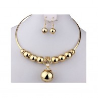 Gold Plated Crystal Beads Jewelry Set