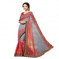 Gray Pink Designer Saree