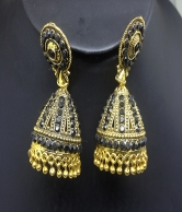 Women's Black & Gold Plated Fashion Earrings
