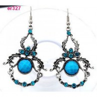 Silver Exquisite Crystal Blue Dangle Dragon Earring