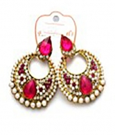 Gold Plated Multi-Colored Stoned Earrings For Ladies