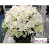 White roses 15 nos with white chrysanthimum flower arrangement SM0012