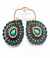 Blue Fashion Gold Plated Earrings For Ladies