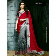 Maroon & Grey Saree Design No 16109-F