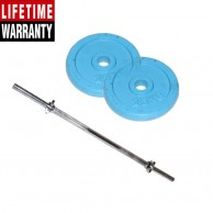 2 Pack Of 2.5Kg Sky Blue Hand Painted Weight Plate plus 3 Feet Barbell