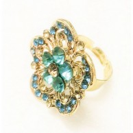 Gold Plated Ring with Blue Stone