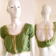 Ready Made Blouses Green lotus brocade