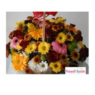 Mix colour gerberas 15 nos and red roses 15 nos in basket CON003