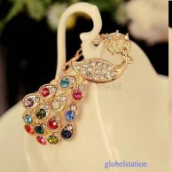 Gold Plated Colorful Crystal Peacock Bracelet