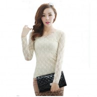 Exclusive Hollow Chiffon White Lace Blouse NIS 124